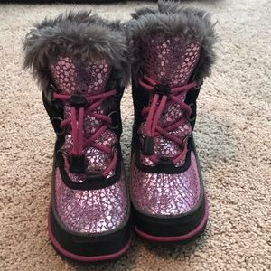 Sorel Sparkly Pink Girls Snow Boots